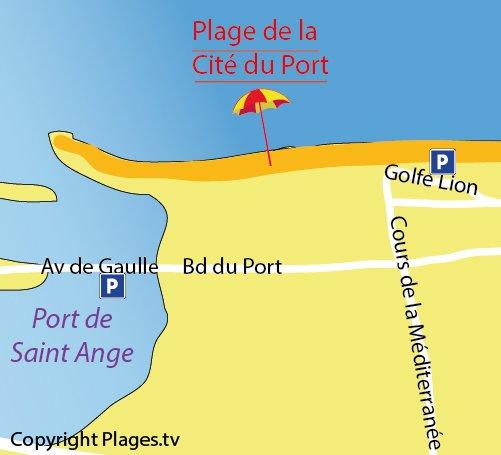 Carte de la plage de la Cité du Port à Barcarès
