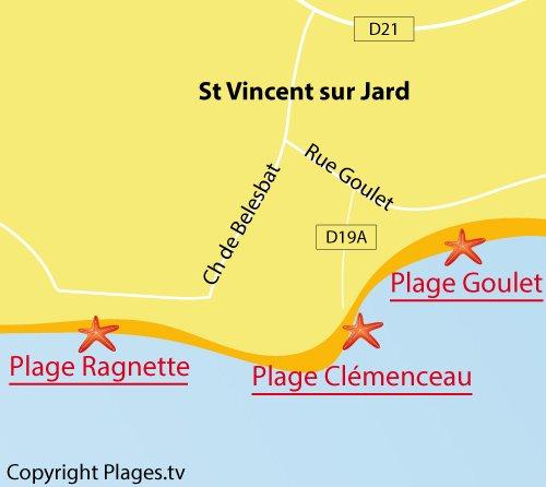 Map of Clemenceau Beach in Saint Vincent sur Jard