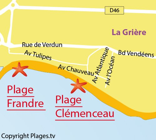 Carte de la plage Clémenceau de La Tranche sur Mer
