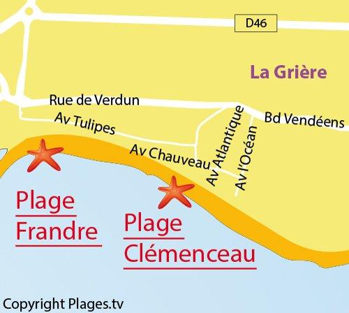 Map of Clémenceau Beach in La Tranche sur Mer