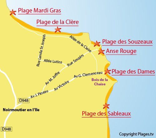 Map of Clere Beach in Noirmoutier