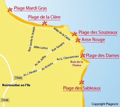 Carte de la plage de la Clère à Noirmoutier