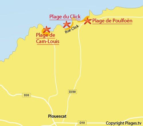 Carte de la plage du Click à Plouescat