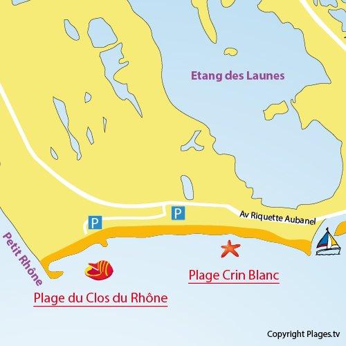 Plan de la plage du Clos du Rhône aux Saintes Maries de la Mer