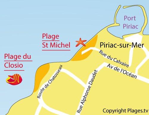 Map of Closio Beach in Piriac sur Mer