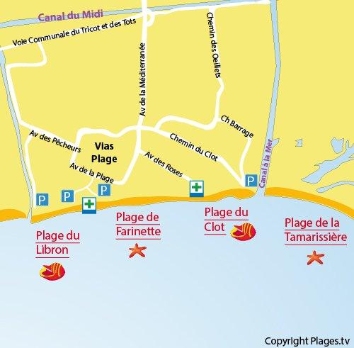 Plan de la plage du Clot à Vias-Plage