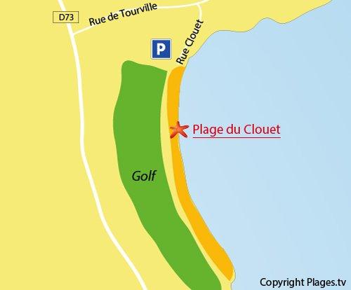 Carte de la plage du Clouet à Carantec