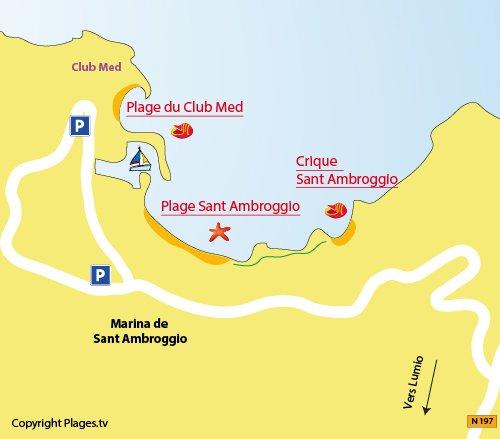 Carte des plages du Club Med à Sant Ambroggio (Corse)