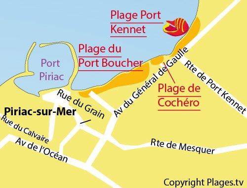 Map of Cochéro Beach in Piriac sur Mer