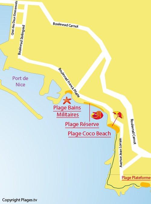 Carte de la plage de Coco Beach à Nice