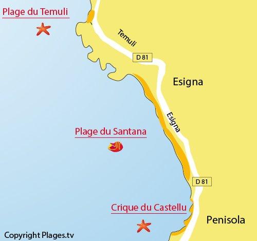 Carte de la plage de Coggia à Sagone en Corse