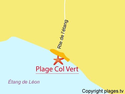 Carte de la plage du Col Vert à St Girons - Lac Léon