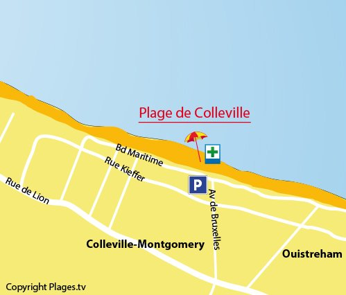 Map of Colleville Beach in Normandy