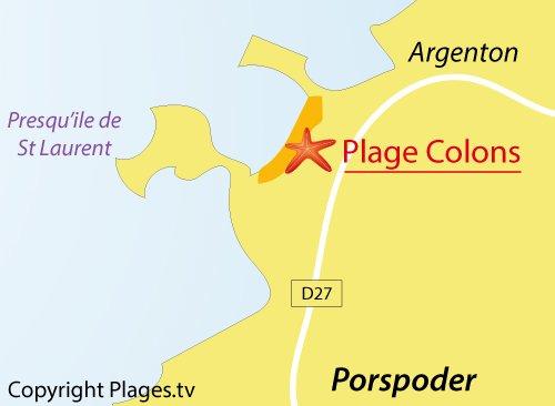 Carte de la plage des Colons à Porspoder