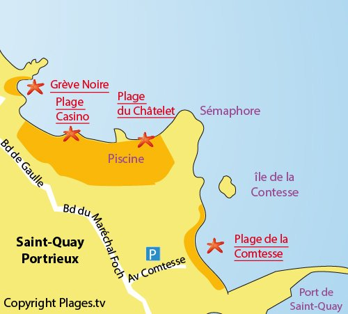 Map of Comtesse Beach in Saint Quay Portrieux