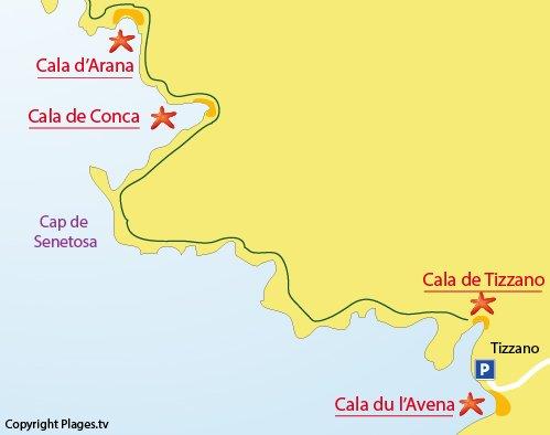 Mappa della Cala di Conca a Sartène
