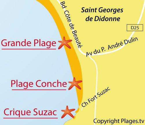 Carte de la plage de la Conche à St Georges de Didonne