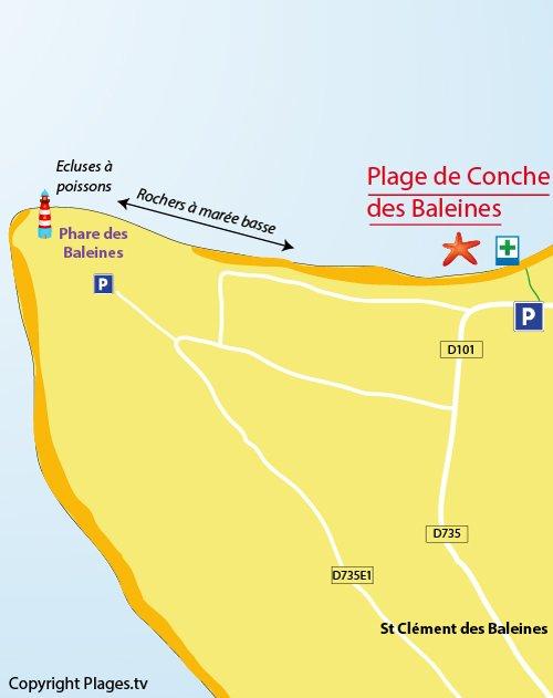 Carte de la plage de la Conche des Baleines sur l'ile de Ré