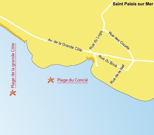 Map of Concie Beach in Saint Palais sur Mer