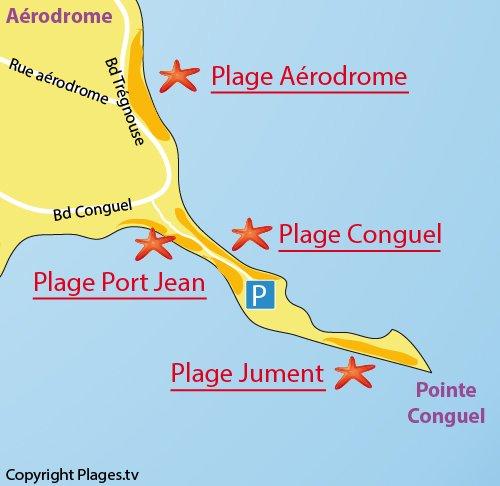Carte de la plage de Conguel à Quiberon