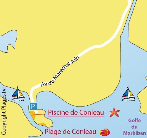 Map of Conleau Beach in Vannes