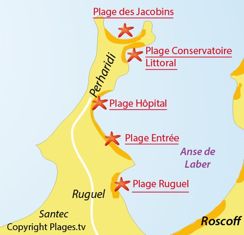 Map of Perharidi beach - North-East