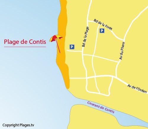 Carte de la plage de Contis 40