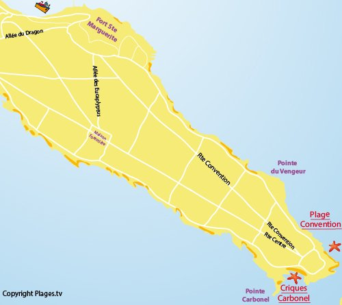 Map of Convention beach - Lerins island