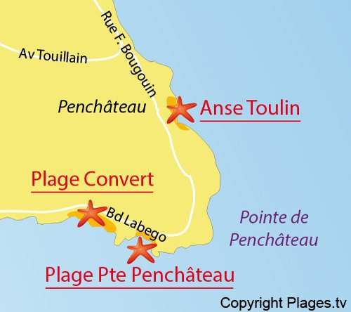 Map of Convert Beach in Pouliguen