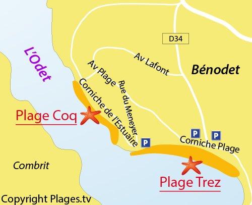 Carte de la plage du Coq à Bénodet