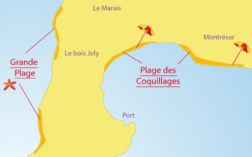 Carte de la plage des Coquillages de l'Ile d'Aix