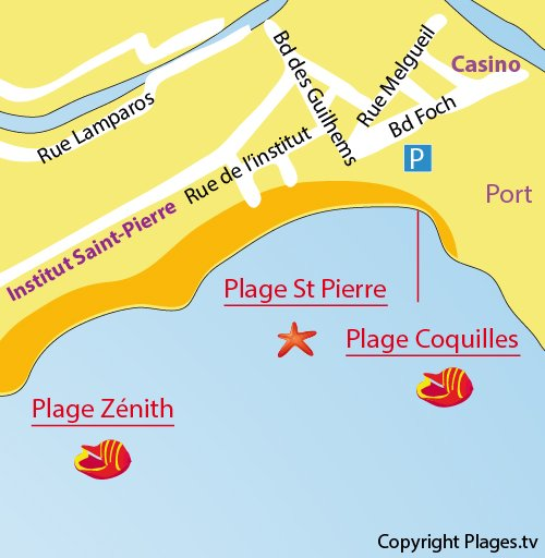 Map of Coquilles beach in Palavas les Flots