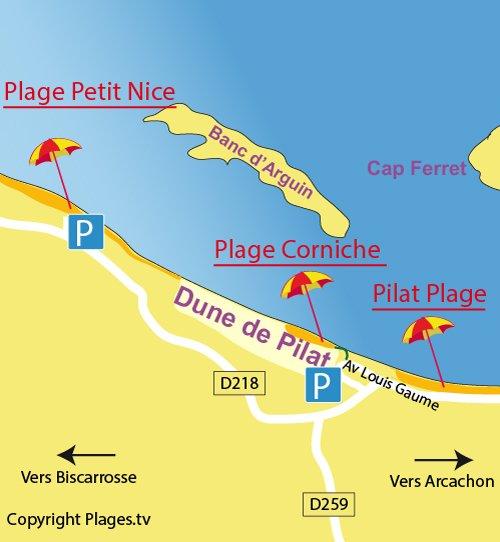 Carte de la plage de la Corniche à Pyla sur Mer