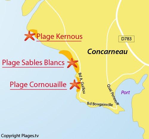 Carte de la plage de la Cornouaille à Corcarneau