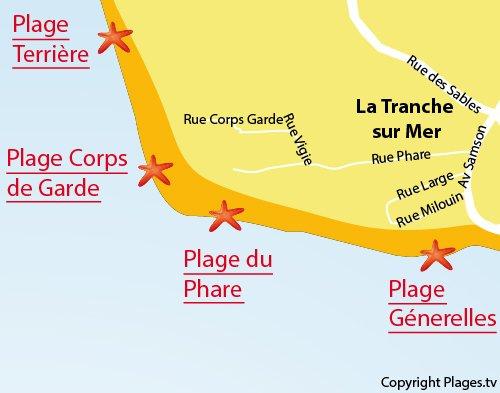 Map of Corps des Gardes beach in La Tranche sur Mer