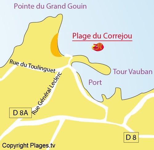 Carte de la plage de Corréjou à Camaret sur Mer