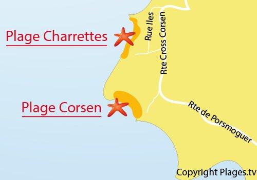 Carte de la plage de Corsen à Plouarzel