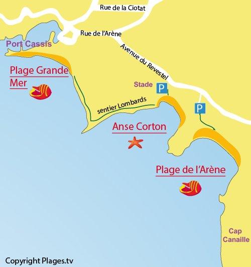 Plan de la plage du Corton à Cassis