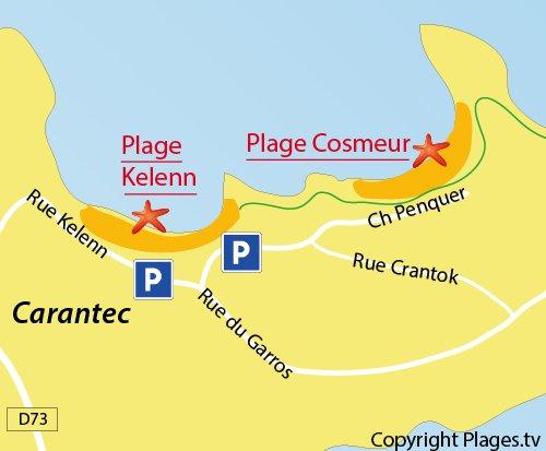 Carte de la plage du Cosmeur à Carantec