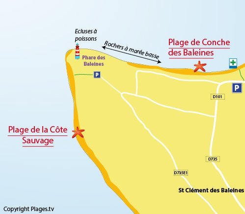 Carte de la plage de la Côte Sauvage - St Clément des Baleines