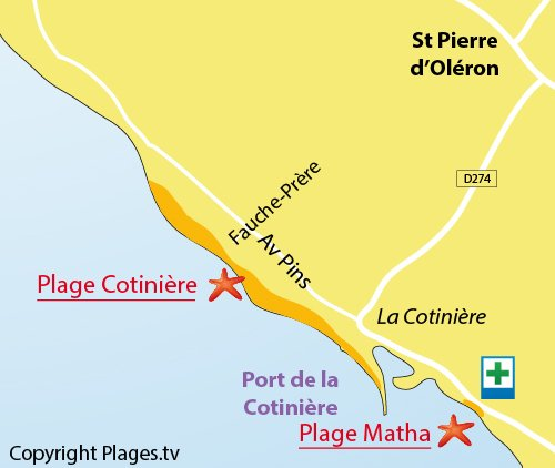 Map of Cotinière Beach in Oléron