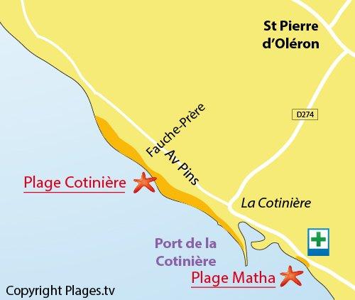 Plan de la plage de la Cotinière à Oléron