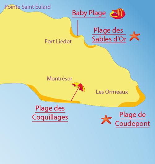 Carte de la plage de Coudepont sur l'Ile d'Aix