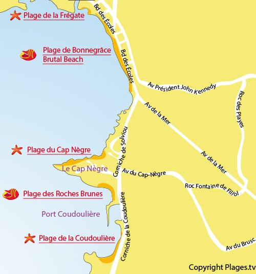 Map of Coudouliere Beach in Six Fours les Plages