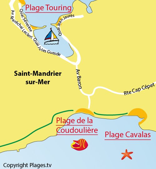 Map of Coudoulière Beach in Saint Mandrier in South of France