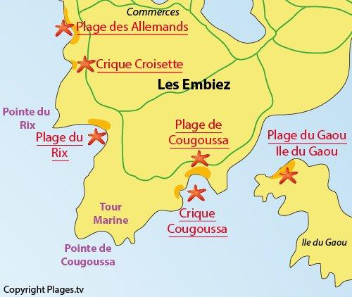 Plan de la plage de Coucoussa sur l'ile des Embiez