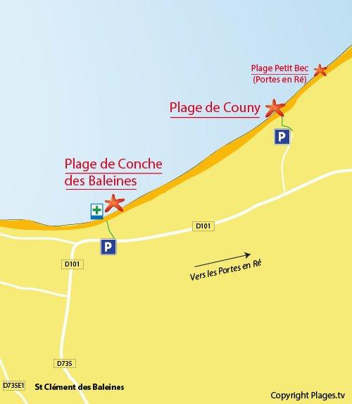 Carte de la plage de Couny à St Clément les Baleines