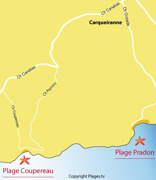 Map of Coupereau Beach in Carqueiranne