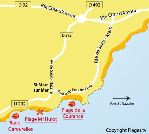 Map of Courance Beach in St Nazaire