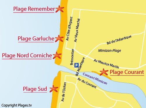 Carte de la plage du Courant à Mimizan
